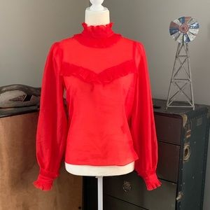Red Victorian High Neck Blouse